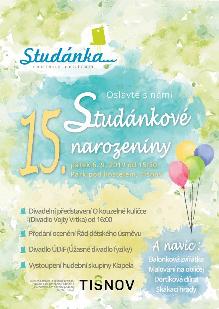 Oslavte s námi 15. Studánkové narozeniny, plakát